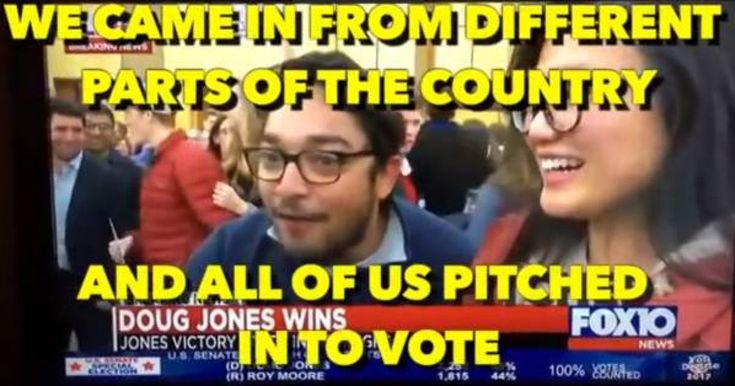 """A clip from the Alabama Senate race contains an admission of voter fraud. """"We came in from different parts of the country and all of us pitched into vote."""""""