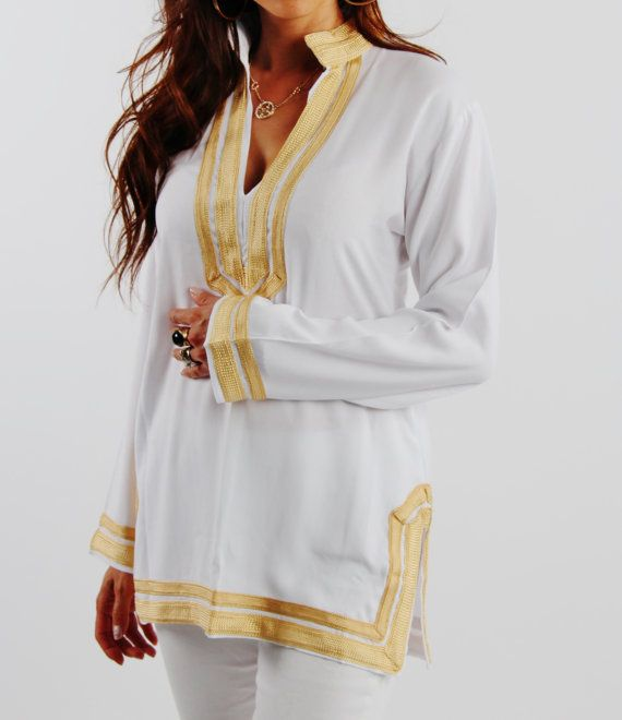 Mariam Style White Tunic with Golden Embroidery-for Christmas gifts, birthday gifts, winter dresses, beach cover ups, resortwear