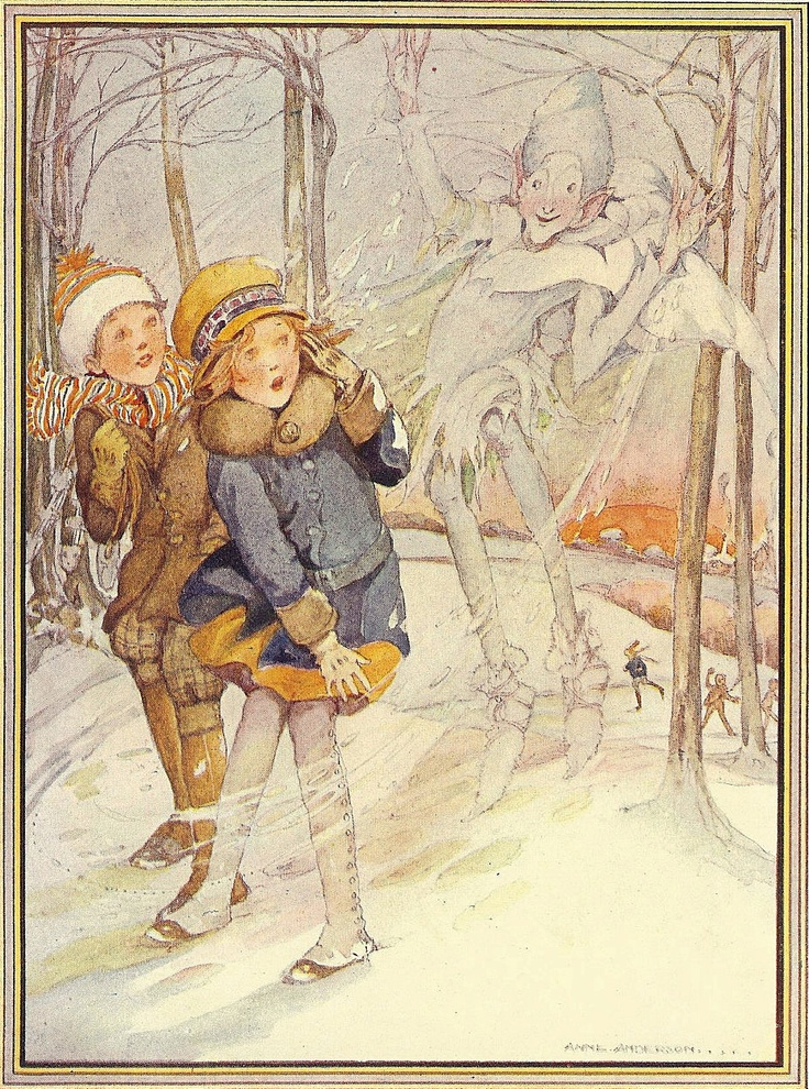 Anne Anderson's Jack Frost | Usually good-natured, Jack Frost represents the happy spirit of playing in the ice and snow. When crossed, however, he is said to bury his victims in the snow.