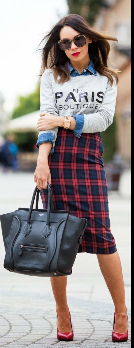 Chambray button up layered with long sleeved Paris tee. Red & black plaid houndstooth pencil skirt. Fall fashion 2016