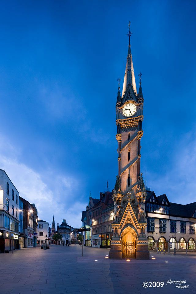 The iconic Haymarket Memorial Clock Tower in Leicester built in 1868