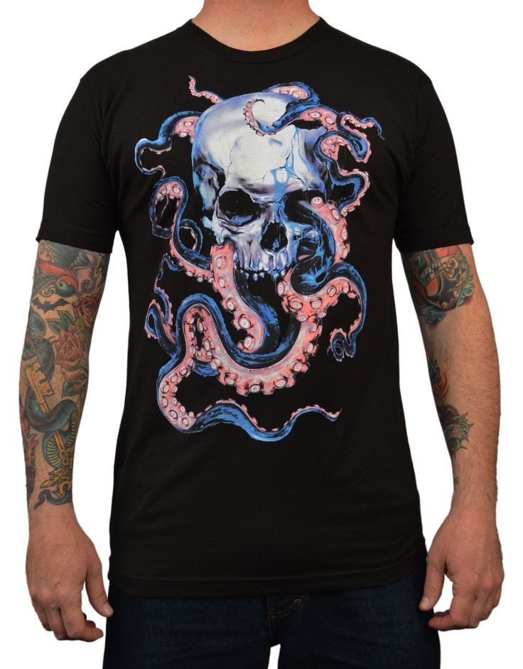Men's Skulltopus by Eric Pineda Skull & Octopus Tentacles Art T Shirt