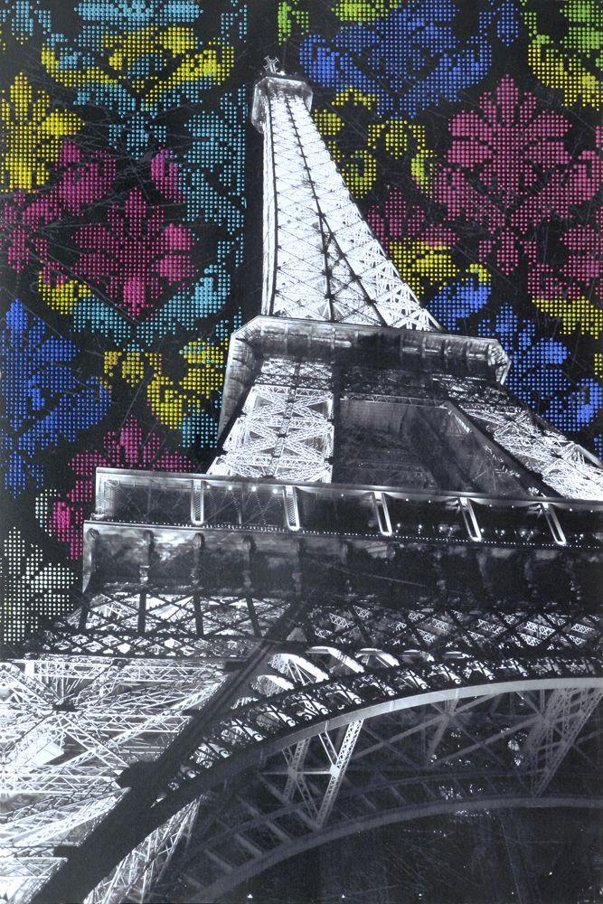 Canvas, schilderij, steden, parijs, frankrijk, eifeltoren, hand geschilderd, print