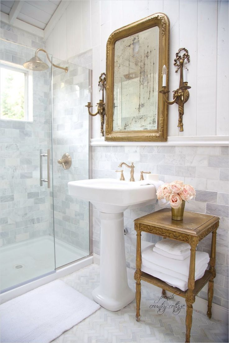 40 Stunning French Country Small Bathroom 45 Details The Perfect Pedestal Sink Fren French Country Decorating Bathroom French Bathroom Country Bathroom Designs Country cottage bathroom decor