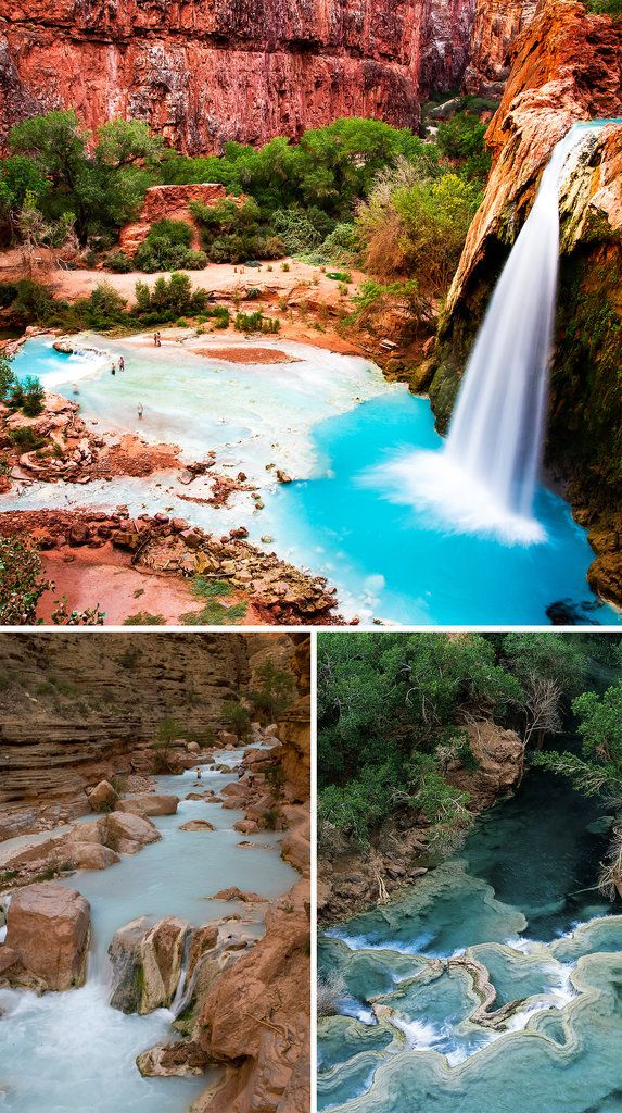 Havasu Falls, US -- We're aware of the Grand Canyon in Arizona, but there's another lesser-known sight — the Havasu Falls — that you shouldn't miss out on. The red rocks and vibrant blue waters make a really stunning contrast. | Repinned by @paoloabolognese