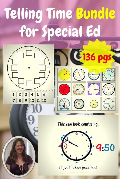 Telling Time Bundle for students with special learning needs. This 136 page unit is a bundle of all three of my units on telling time. It targets many different learning levels, from sequencing daily events to reading a clock to 5 minute increments. It is specifically developed for students with special learning needs, especially autism. Save money by purchasing this bundle. $ Download at: https://www.teacherspayteachers.com/Product/Telling-Time-Bundle-for-Special-Education-2394034