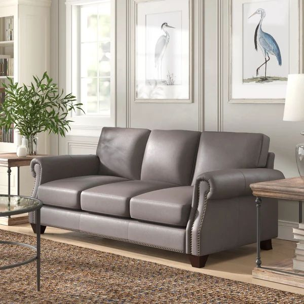 Phebe 84 Genuine Leather Rolled Arm Sofa In 2021 Leather Sofa Living Room Leather Couches Living Room Grey Leather Sofa Living Room Living room grey leather sofa