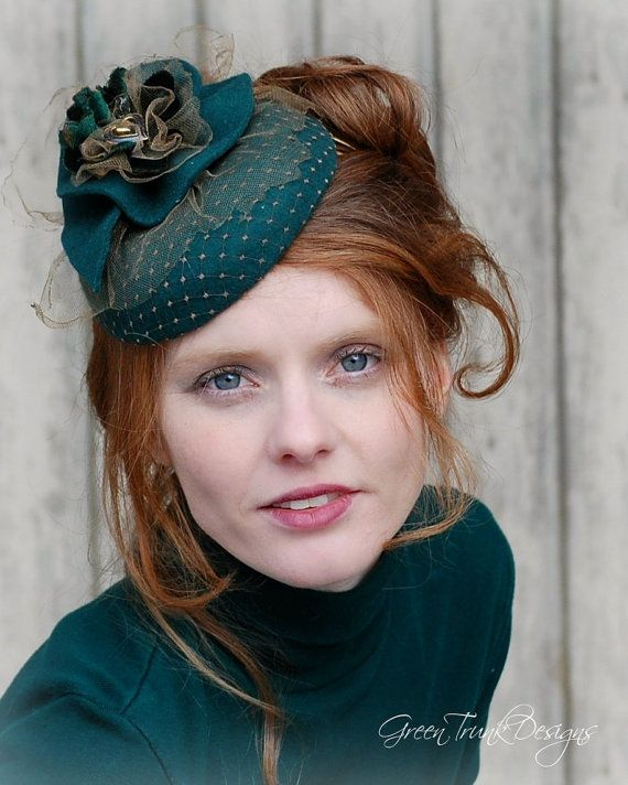 Cocktail Hat / Green Fascinator Hat / St by GreenTrunkDesigns