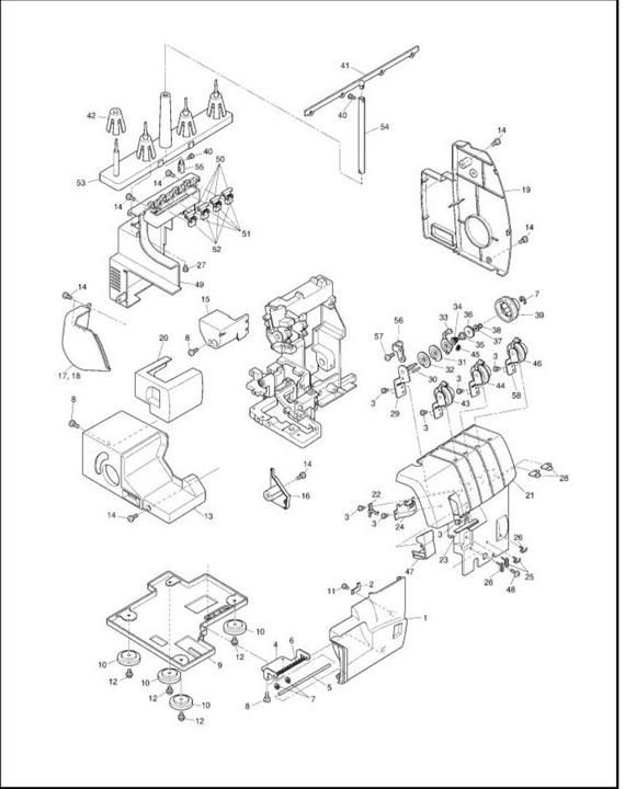 Brother 1034 Serger service manual, Homelock 1034d