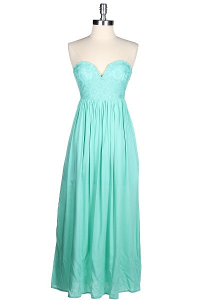 The Lucky One Lace Sweetheart Maxi - Mint