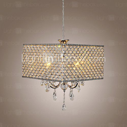 Max 60W Modern/Contemporary / Drum Crystal Painting Metal Chandeliers Living Room / Bedroom / Dining Room - USD $153.99