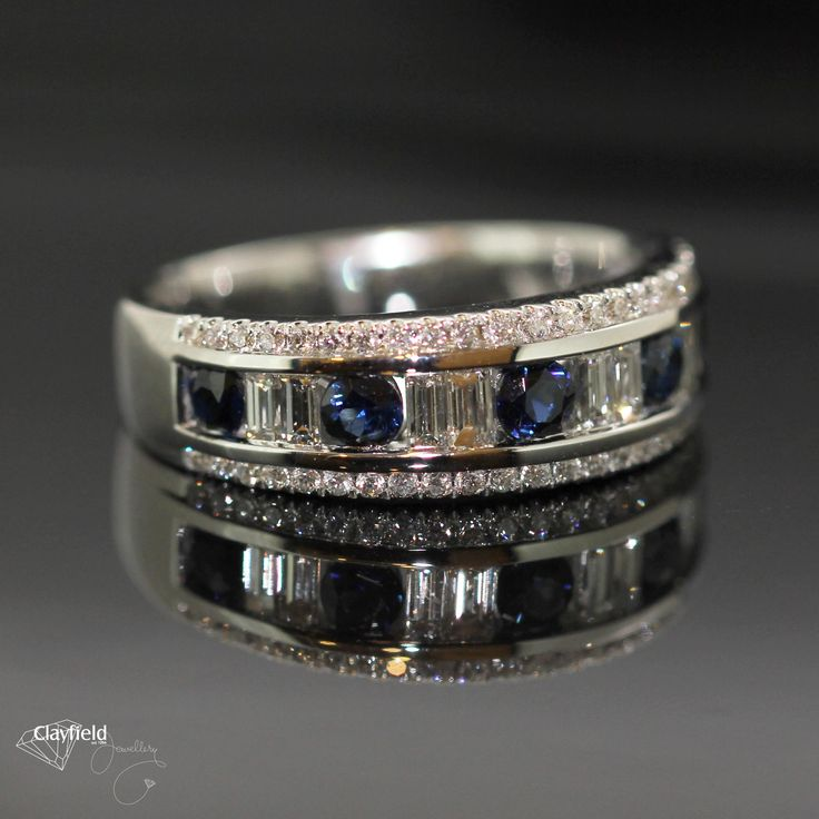 Gorgeous 18ct white gold sapphire and diamond ring. #clayfieldjewellery