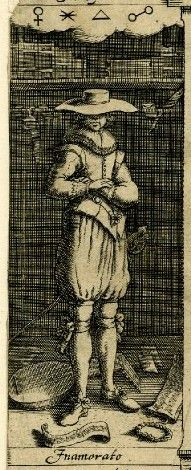 """arms folded signifying melancholy -- The melancholy lover from the titlepage, engraved by Christof le Blon, to the 3rd edition of Robert Burton's """"The Anatomy of Malancholy"""" (1628)."""