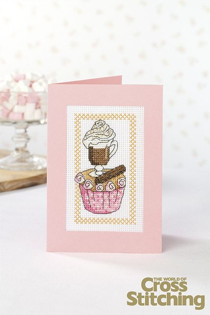 Cupcake of the Month - cross stitch pattern. Look out for the latest in our collectable chart series of delicious designs! This hot chocolate-themed one, in issue 210 of The World of Cross Stitching magazine, will be lovely for a winter birthday
