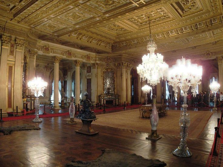 Dolmabahce Palace, Turkey- The Ambassador's Hall (Süfera Salonu) with Bacarrat Torchières & Chandelier.