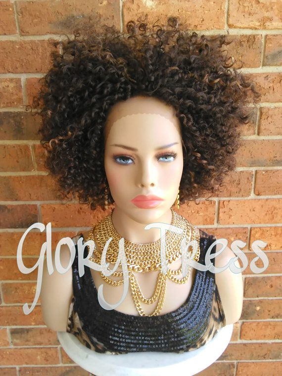 ON SALE // Kinky Curly Lace Front Wig Brown Curly by GloryTress