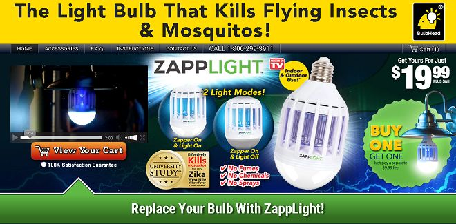 ZappLight is a combination light bulb and mosquito zapper that screws into any light bulb socket. Does it work? Read our Zapp Light review.