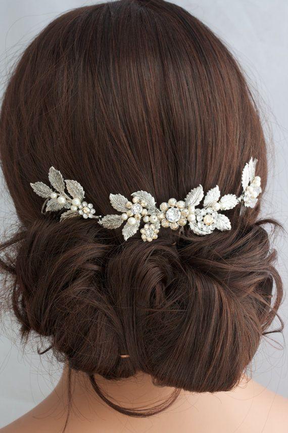 Antique Silver Wedding Hair Accessory Leaf Hair Vine Headpiece Bridal Hair Comb Swarovski Golden Shadow Crystal Bridal Hair Accessory STACEY