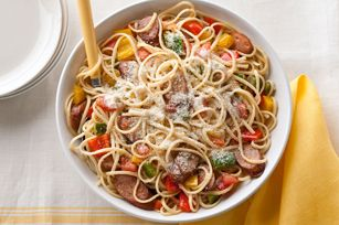 Chicken Sausage, Peppers & Tomatoes with Linguine recipe, as featured in the latest food & family magazine