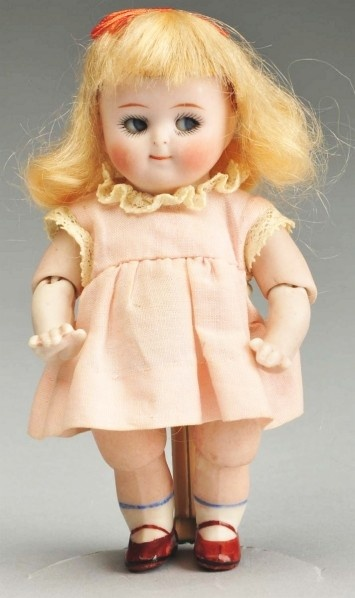 Rare Kestner All-Bisque Googly.  With Jointed Elbows and Knees. Head incised 111, side-glancing blue sleeping googly eyes, painted upper and lower eyelashes, tapered one-stroke eyebrows, watermelon mouth, button nose, original blonde mohair wig with red hair ribbon.: Antique Dolls All Bisque, Dolls Collections, Bisque Dolls, Antique Vintage Dolls, Dolls Antique, Baby Dolls, Bisque China Dolls, Bebes Dolls