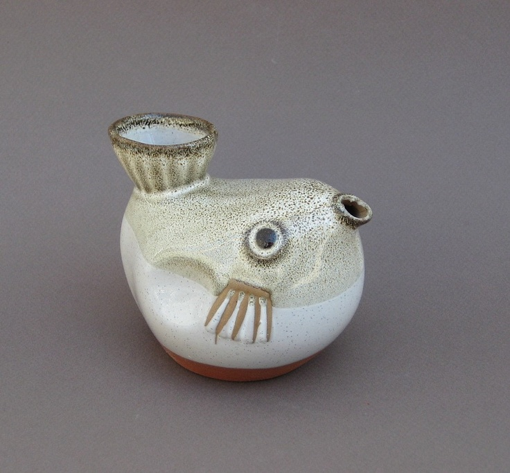 Reserved Modern Pottery Puffer Fish Japanese Sake Pot