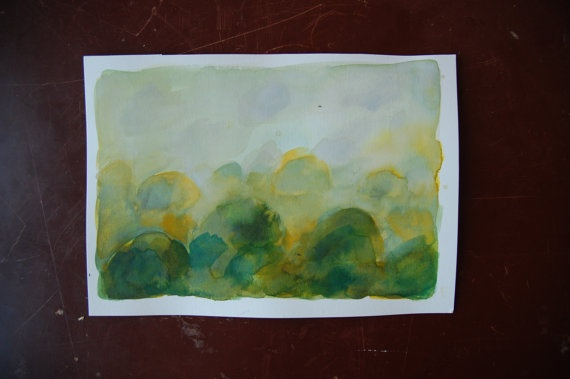 Original watercolor painting  The Hills by ConstructiveLaziness, €20.00