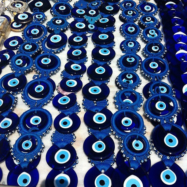A nazar boncuğu is an eye-shaped amulet believed to protect against the evil eye.