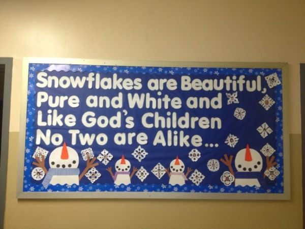 Mrs. B's Winter Bulletin Board -- Each snowflake has a picture of child's face ❤️ by jannie