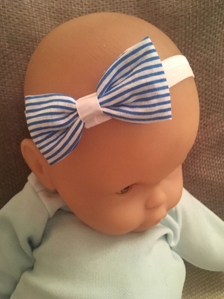 Baby Headband White Bow Elastic Girl Hair Exclusive - Blue Striped in Baby, Clothes, Shoes & Accessories, Accessories | eBay!