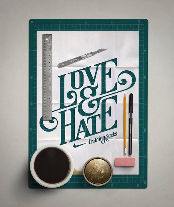 creative poster: Graphic Design, Design Inspiration, Hate, Poster, Mats Ottdal, Type, Typography Works, Nike, Hand Lettering