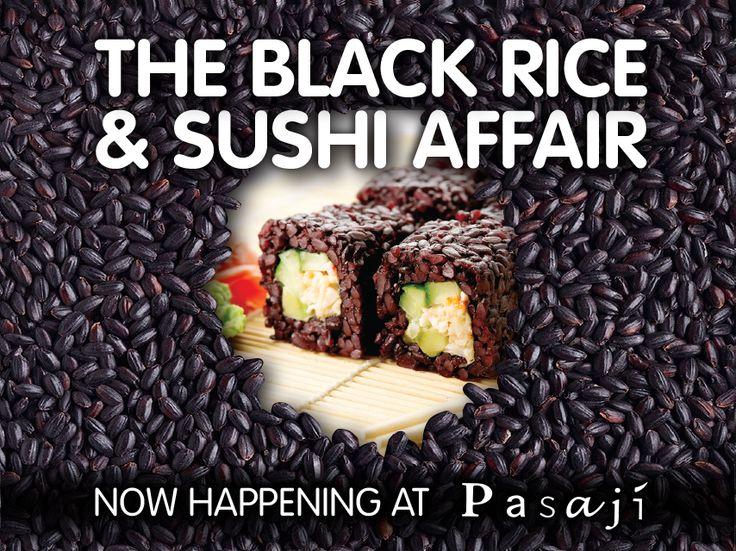 Το σπάνιο και πολύτιμο μαύρο ρύζι, με το ντελικάτο άρωμα και την πλούσια θρεπτική αξία, σας περιμένει να το δοκιμάσετε σε 4 εκλεκτούς συνδυασμούς sushi, με τη σφραγίδα των chefs μας. #Pasaji_sushi_affair #Black_rice_sushi