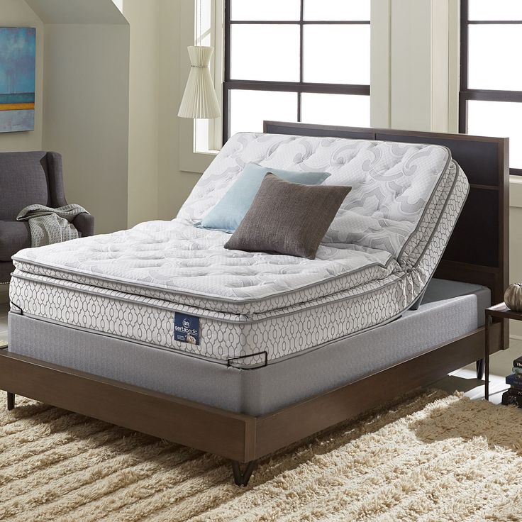 Serta Extravagant Pillowtop King Size Mattress Set With Elite Pivot Adjule Foundation