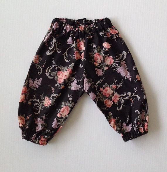 BABY AND TODDLER black floral harem pants by TwoBlackRabbits