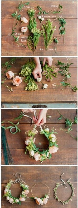 DIY floral crown with berzillia, jasmine, ranunculus, rice flower and gorgeous juliet garden roses. so pretty!!