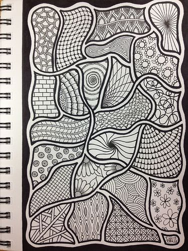 """Zentangle. I love how the """"string"""" becomes part of this one."""