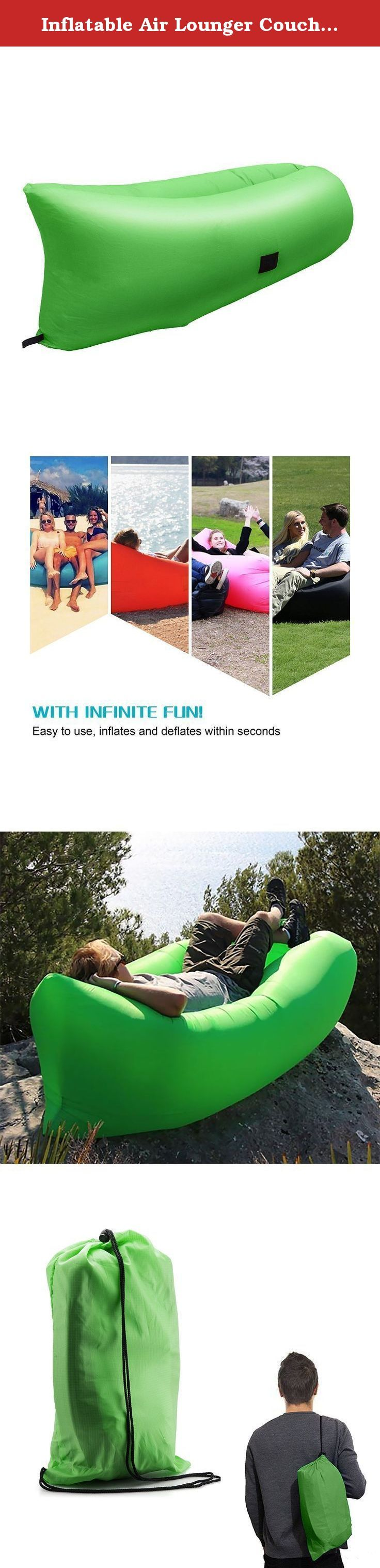 Inflatable Air Lounger Couch ,Portable Air Lazy Sofa Bag Waterproof Nylon Fabric hammock for Family Outdoor Party Camping Picnic Sport Outing Beach Park Without Air Pump. ❤ Multi-function sides pockets: There are 2 pockets on one side. You can put your smartphone or bottles on the left pocket. On the right pocket, you can put i pad or your favorite books or magazines on this hangout lounger!. ❤ Multi-layer protection :Compare to other single -layer inflatable sofa, our air hammock was…