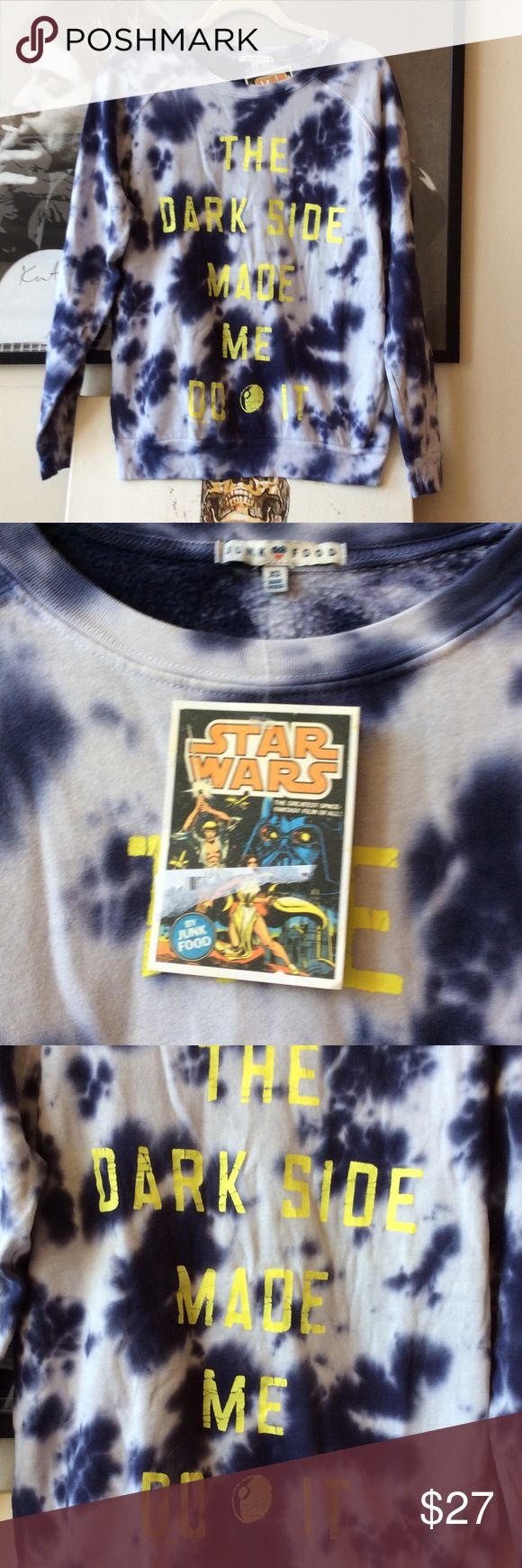 NWT Junk Food Star Wars Sweatshirt ✨ NWT Tye dye Junk Food clothing Star Wars Sweatshirt. Length is 25 inches and when laid it is 20 inches across from armpit to armpit 🌟 Junk Food Tops Sweatshirts & Hoodies