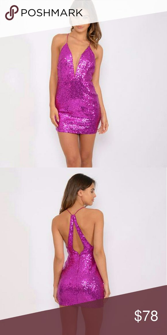 Last One Rare London Plunge Fuschia Sequin Dress Sale Item Priced as Marked  NO OFFERS   Sequinned fabric Plunge neckline String straps Zip fastening to back Close cut body-conscious fit Hand wash 100% Polyester   I Don't Trade Lowest Price No Offers ASOS Dresses Mini
