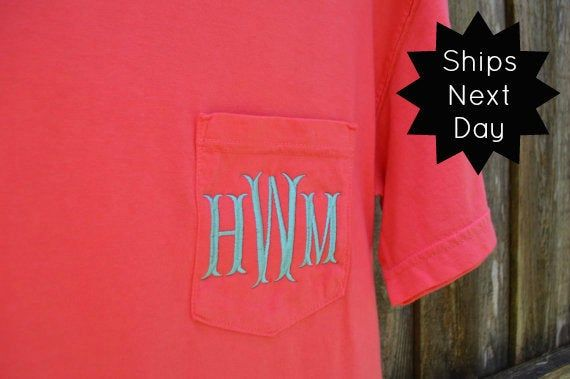 Monogrammed Comfort Colors Shirt Personalized Comfort Colors Etsy Comfort Colors Tee Colorful Shirts Comfort Colors