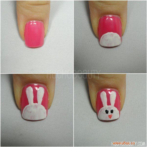 Uñas de adorables conejitos - http://xn--decorandouas-jhb.com/unas-de-adorables-conejitos/