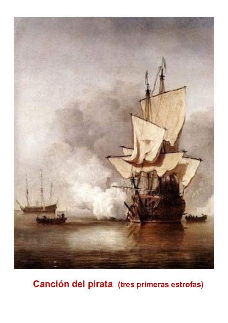 """Tres primeras estrofas del poema de José de Espronceda """"La canción del pirata"""" que han aprendido los alumnos y alumnas del Primer Ciclo , entre otras actividad…"""