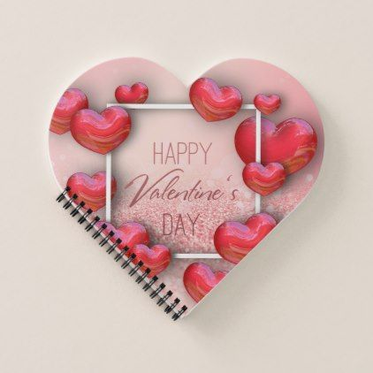 Valentines Day Red Heart Glitter Spiral Notebook | Zazzle.com