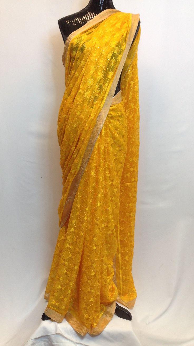 Phulkari embroidery on chiffon Saree - Yellow