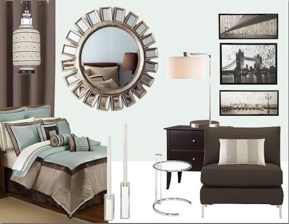 Brown & Aqua Bedroom