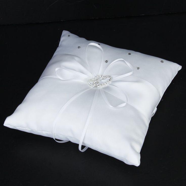 Weiß Doppel Herz Kristall Strass Ringkissen Hochzeit Ring Kissen Schlicht Elegant Wedding Zubehör Online