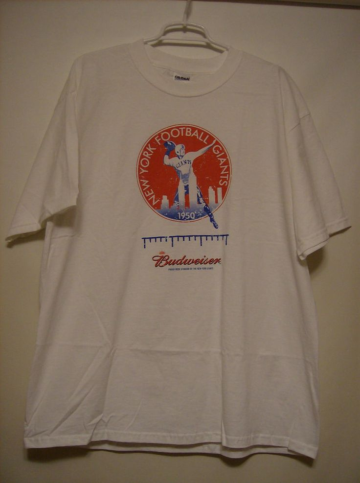 Brand new New York Giants t-shirt size XL White Comfortable and well fitting 100% cotton Budweiser logo
