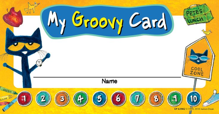 "Pete the Cat My Groovy Punch Cards - Use these Pete the Cat punch cards to motivate students to complete tasks, demonstrate good behavior, and achieve goals. When all of the punches are complete reward their accomplishment with a special treat! 60 per pack. Each card measures 5 3/4"" x 3"""