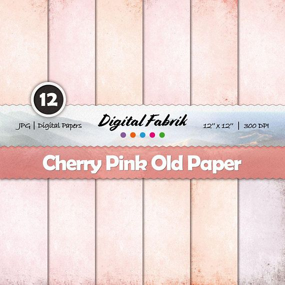 Cherry pink & red old scrapbook paper, 12 digital papers, digital paper pack, 12x12 jpg files, digital download, personal or commercial use