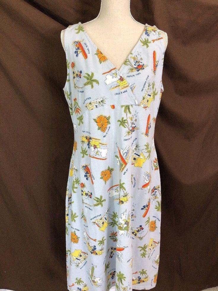 Disney Store Tropical Dress MIckey Minnie Hawaiian Print Sz 2XL XXL #Disney #Maxi #SummerBeach