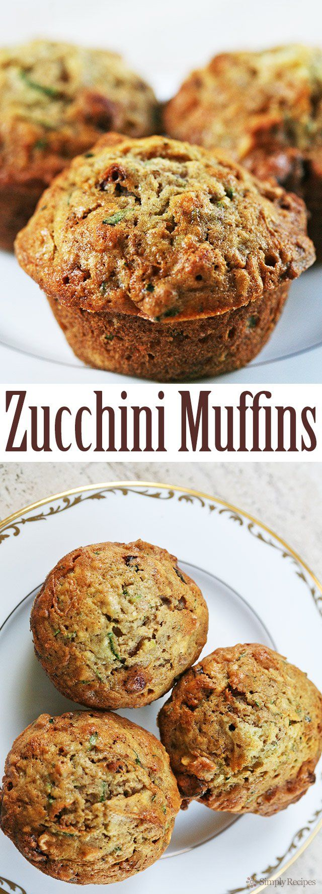 The BEST zucchini bread muffins EVER! Moist, sweet, packed with shredded zucchini, walnuts, dried cranberries, and spiced with vanilla, cinnamon and nutmeg. On SimplyRecipes.com